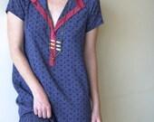 Blue Printed Dress / Summer Midi Dress / Geometric Print Dress / Cleavage  Red Collar Bohemian Dress / Boho Chic Dress - Free Spirit