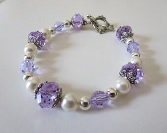 Lilac Bracelet, Violet Bracelet, Silver And Pearl Bracelet, Purple Bracelet, Crystal Bracelet
