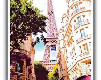 Poster Print of the Eiffel Tower, Paris, France - Original travel poster with a retro feel - photo art