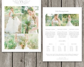 Photography Pricing Template - Price Guide List for Photographers - Wedding Photographer Photo Price Sheet - PG05