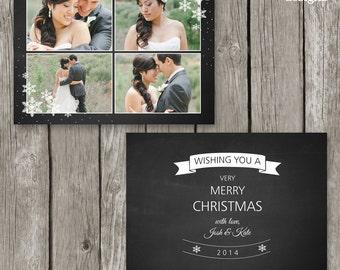 Christmas Card Template for Photographers - Holiday Photo Card - Chalkboard Design - CC25