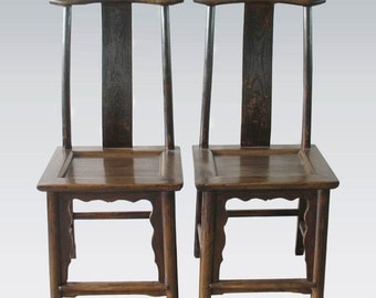 Summer Sale 50% OFF 19th Century Yoke back headrest pair of Chinese Asian Antique Qing dynasty elm wood chairs Circa 1800's