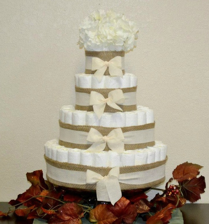 White Burlap Diaper Cake Neutral Diaper Cake Baby Shower