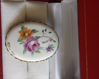 Vintage Flower porcelain brooch flowers hand painted Singed Ester call.
