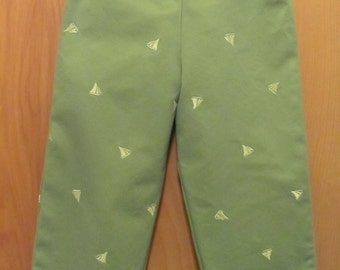 Upcycled Green Pants with Sailboats,  Children's size 3