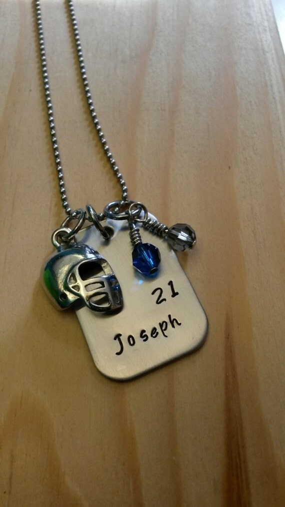 Hand stamped necklace personalized jewelry football necklace for How do you make hand stamped jewelry