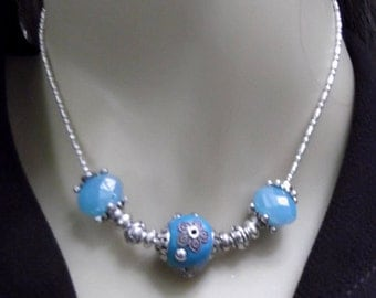 Hand Made Bali Bead Necklace and Earring Set
