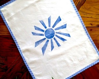 Hand Printed Tea Towel, The Sun's Rays, Sun, Blue, Border, Kitchen