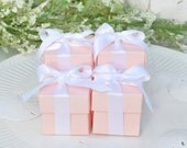 REDUCED PRICE - 200 Light Coral Peach Favor Gift Box 2x2x2 Square with Lid