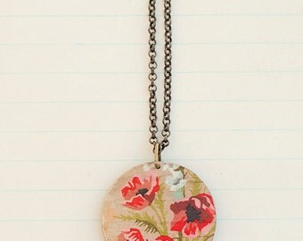 Red Poppy wooden necklace