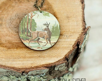 Wooden Deer Necklace
