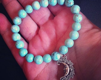 Turquoise Howlite Bracelet with Moon Charm, Reiki Infused, Metaphysical