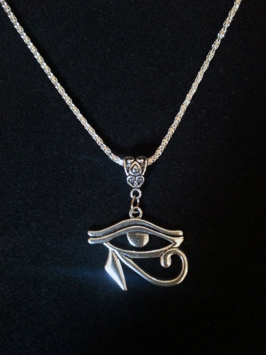 eye of horus necklace by steelrosejewelry on etsy