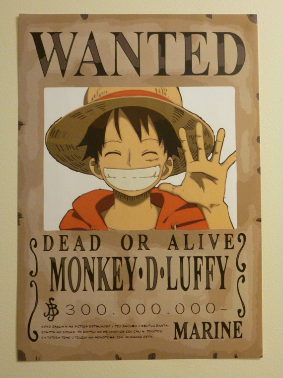 Items similar to small one piece wanted poster on etsy - One piece wanted poster ...