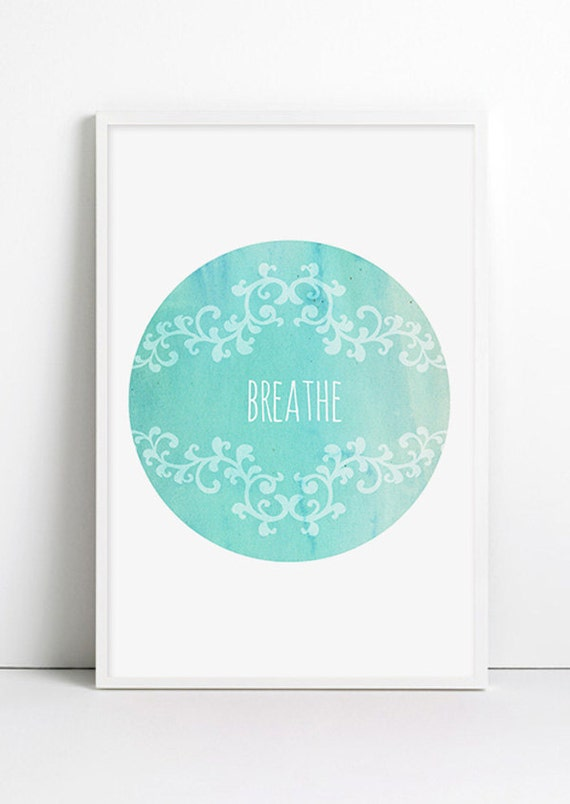 Yoga Poster Breathe Watercolor Minimalist Mint Green Turquoise Vintage Yoga Watercolor Art Relax Yoga art Blue wall decor, Typographic Print