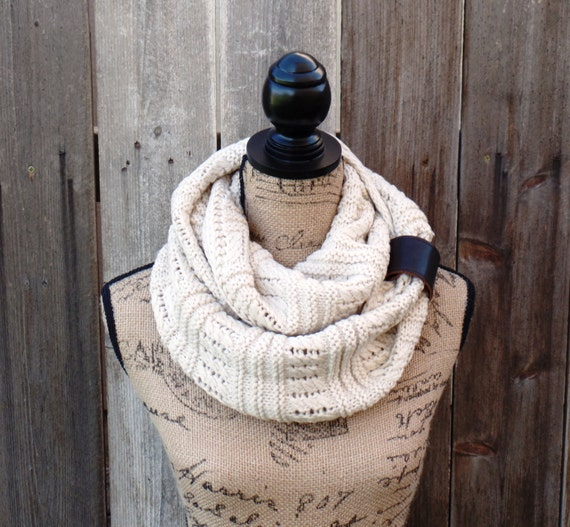 Scarf, Womens Ivory Knit Winter Scarf, Womens Knit Infinity Scarf ...