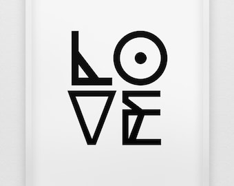 love print // black and white love print // modern typographic print  // anniversary gift // love poster