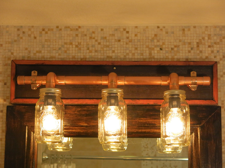 Rustic Industrial Vanity Lights : Items similar to Industrial Rustic Copper Mason Jar Vanity Light on Etsy