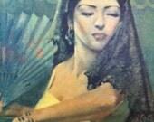 Large unframed original oil painting ~ unsigned ~ Spanish Dancer ~