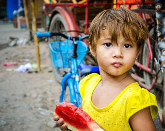 Beautiful young girl outside her home in Myawaddy, Myanmar - Travel Photography