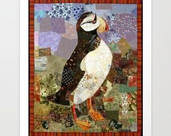 Fiber Art Print, Fabric Puffin, Alaskan Puffin, Puffin Art, Puffin Print, Fabric Art Print, Alaskan Art, Unique Alaskan, Unique Decor