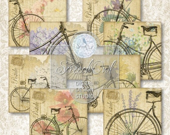 Bicycles and Blooms, Collage Sheet - Squares, Coaster Tiles, Vintage,  Instant Download, Paper Craft Supplies