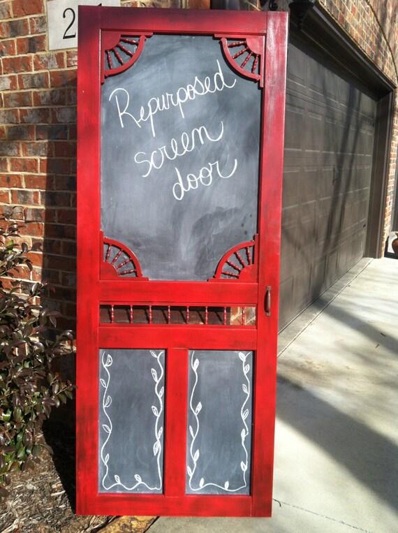 Antigue Door Chalkboard : Re purposed screen door with chalkboard panels
