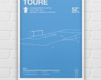 Manchester City - Yaya Toure vs Man United, Giclee Print