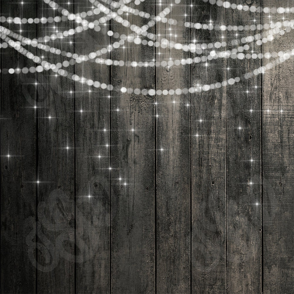 String Lights Backdrop : Bokeh String Lights Rustic Wood & Chalkboard Digital