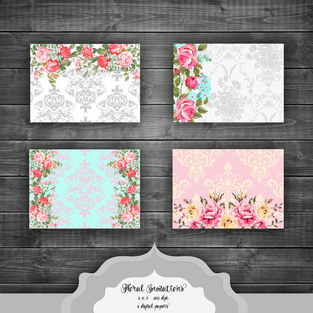 shabby chic floral digital paper pack vintage flowers damask