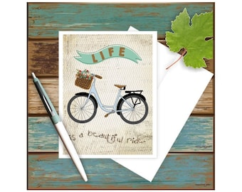 Bicycle Card, All Occasion Card, Life is a Beautiful Ride, Blank Note Card, Anniversary Card, Bike Love, Bike Art, Bike Card, Thank you Card