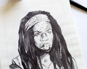 Danai Gurira as Michonne (The Walking Dead) - original ink drawing