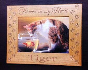 Cat Memorial Picture Frame 5x7 Pet Custom Laser Engraved Frame