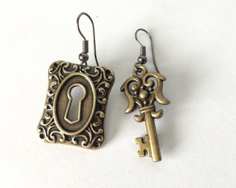 Antique brass lock and key earrings