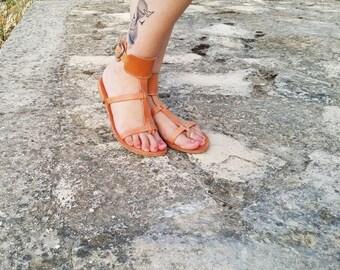 Women Sandals-Brown High Greek Handmade Summer Leather Sandals - Leather Sandals Women