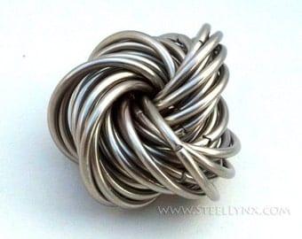 Möbii Stainless Steel Medium: Fidget Mobius Puzzle, Chainmail Office Toy, Stim Toy, Stress Ball, Geek Toy