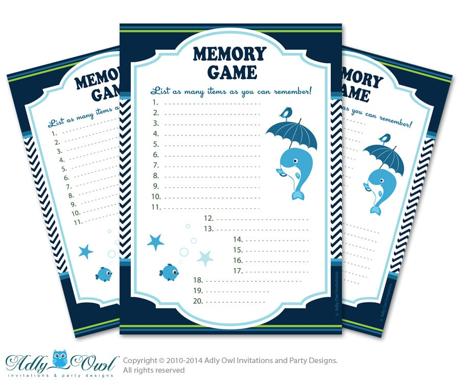 boy whale memory game for baby shower by aoprintablesforkids