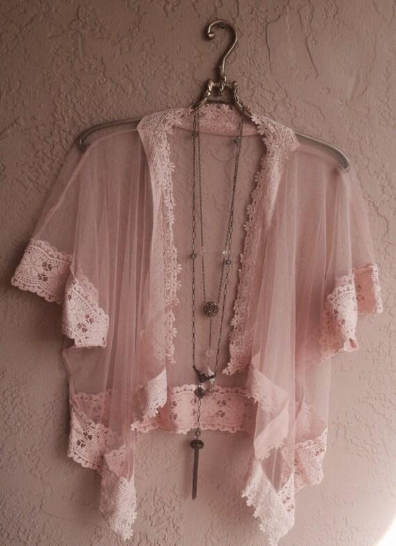 Романтический Персик Sheer кружева и крючком кимоно для более бикини или летом dress.Gypsy богини Coachella
