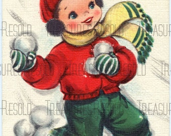 Boy Throwing Snowballs Christmas Card #19 Digital Download