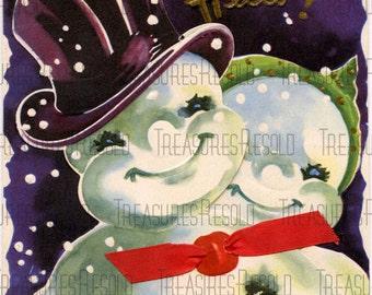 Retro Snowman Couple Christmas Card #70 Digital Download