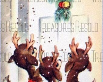 Reindeer At The Door Christmas Card #112 Digital Download