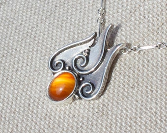 Fire Elemental Necklace Argentium Silver with Orange Lace Agate