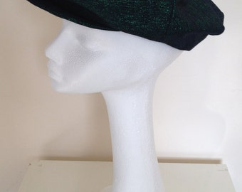 Black denim with green lurex, baker boy cap/hat with colourful lining.