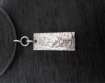 Long Rectangular Textured Sterling Silver Artisan Pendant (one) (A)