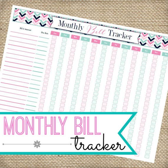 Monthly Bill Organizer INSTANT DOWNLOAD Printable PDF Expense Tracker