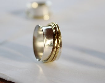 2 bands spinner ring,minimal  ring,STERLING SILVER spinner ring, Meditation Ring, Prayer Ring, Spinning Ring , fidget ring or kinetic ring