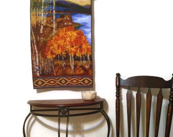 Art Quilt Wall Hanging Tapestry Cabin Autumn Decor