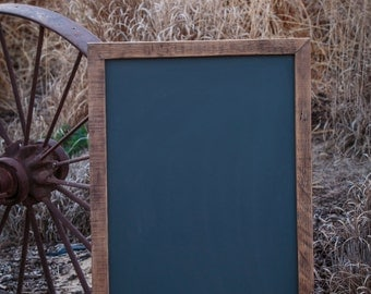"Large Chalkboard Sign, Rustic Framed Chalkboard, Reclaimed wood from 100 year old vineyard,  22""x34"""