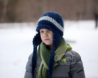 Download knitting pattern #015 - Boston earflap hat - Toddler, child, adult sizes - pdf tutorial