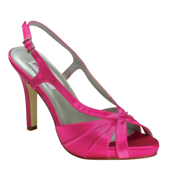 Pink Heels For Wedding: Hot Pink Bridesmaids Wedding High Heels Bridal Shoes By